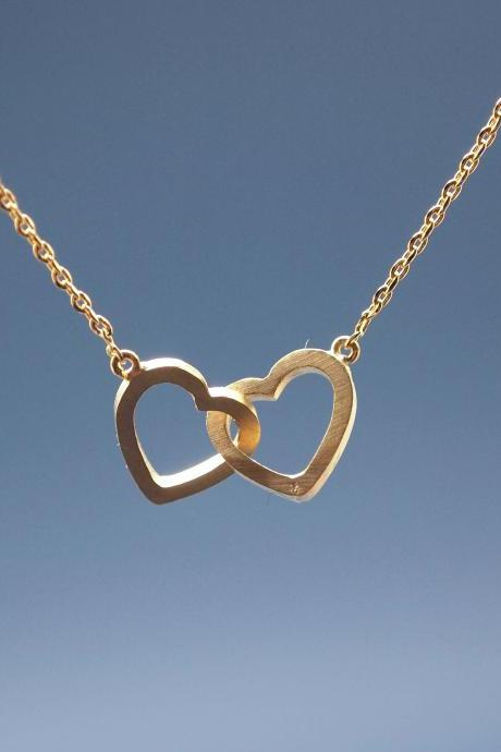 Infinity Hearts Necklace in Gold