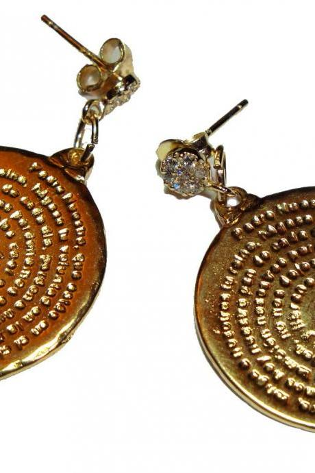 Padre Nuestro (Our father Prayer ) Vermeil Disc Earrings