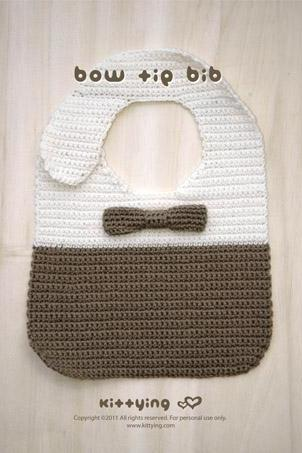 Bow Tie Bib Crochet PATTERN - Chart & Written Pattern By Kittying