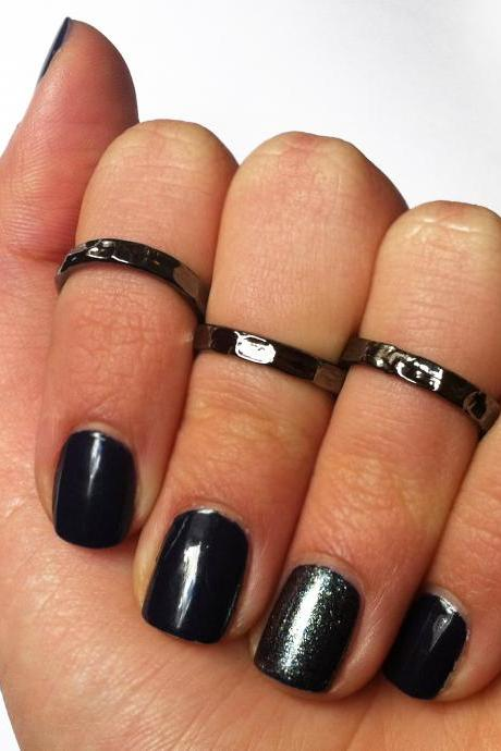 Black Knuckle Rings - Black Pinky Rings