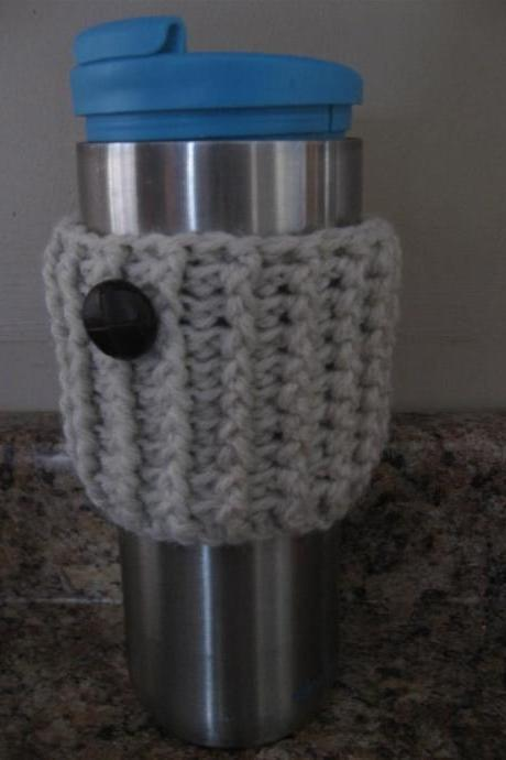 Reusable Crochet Coffee Cup Sleeve with Button. Travel Mug Cozy. Slip-on Java Jacket.