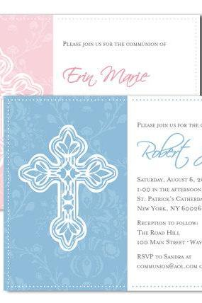 Girl or Boy Custom Christening Baptism Themed Invitation