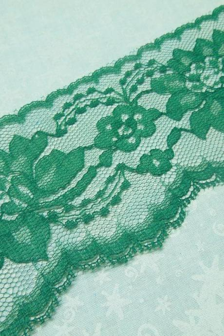 1 yard of 3 inch Dark Green, Hunter Green chantilly lace trim for bridal, crafts, baby, lingerie by MarlenesAttic - Item O1