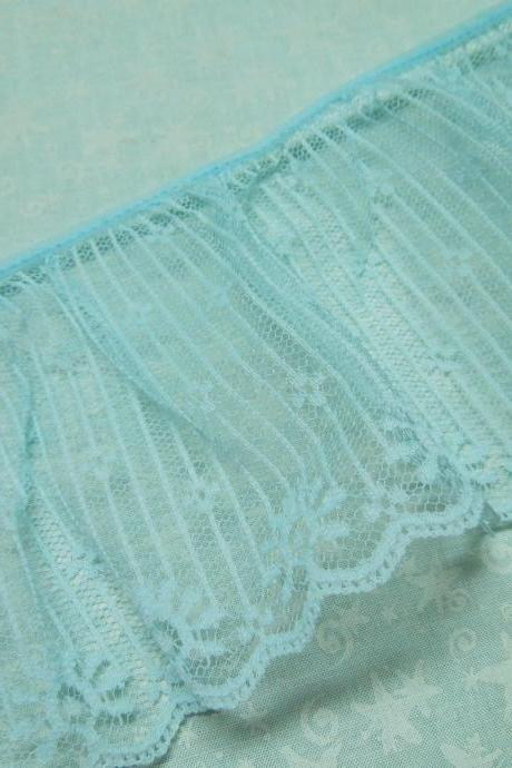 1 yard of 4 inch Light Blue ruffled chantilly lace trim for bridal, baby, wedding, couture, costume by MarlenesAttic - Item O9