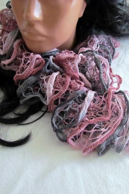 Elegant curly scarf, scarf, girls, women, spring, autumn, colorful,light pink, pink, gray, light gray