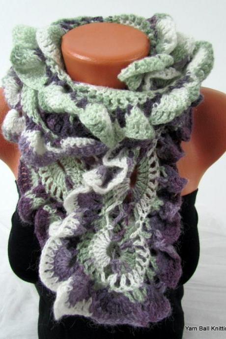 Knitted curly scarf crochet, colorful purple and green line