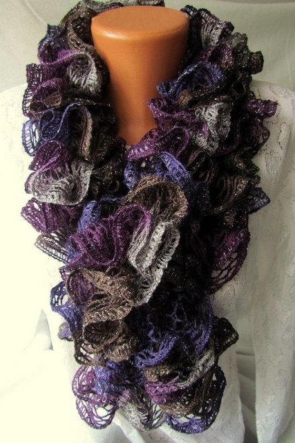Elegant curly scarf, scarf, girls, women, spring, autumn, colorful, plum,fairy tale,gray,brown, dark violet, silver