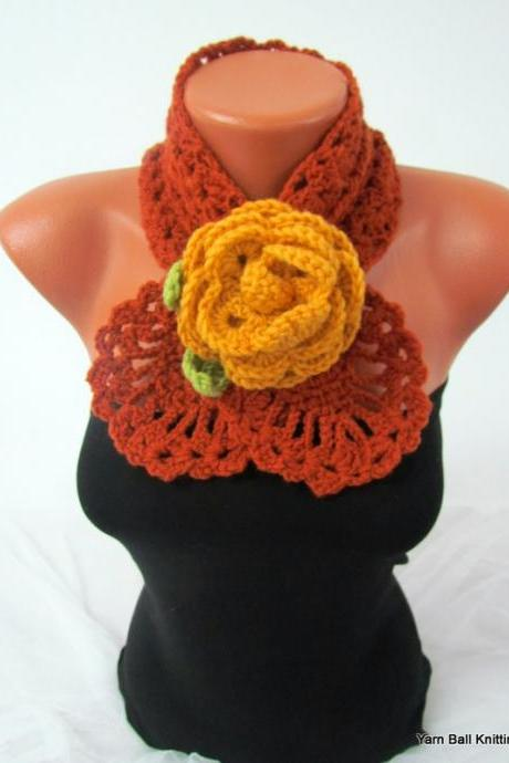 Women accessories,crochet scarf jewellery,gift for mom, nechwarmer handmade gift, rose brooch dark yelolw flowers