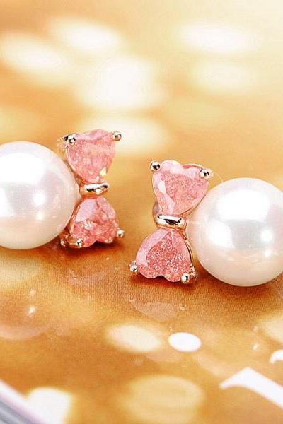 Pink bowknot pearl earring