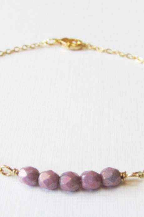 Dainty Beaded Gold Bracelet, 14kt Gold Filled Bracelet, Gift for Her