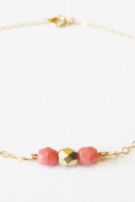 Dainty Pink Beaded Gold Bracelet, 14kt Gold Filled Bracelet, Gift for Her