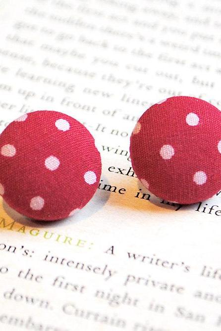 Red Polka Dot Button Earrings, Large, Nickel Free Studs