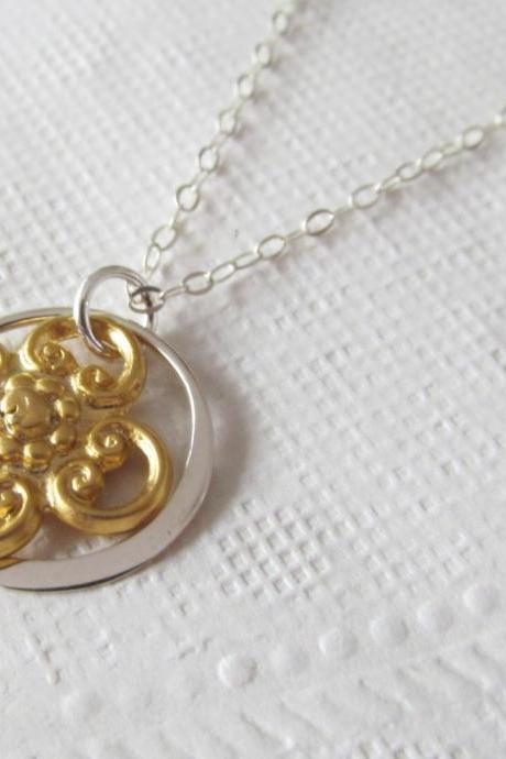 Gold & Sterling Silver Necklace, Sterling Silver Necklace