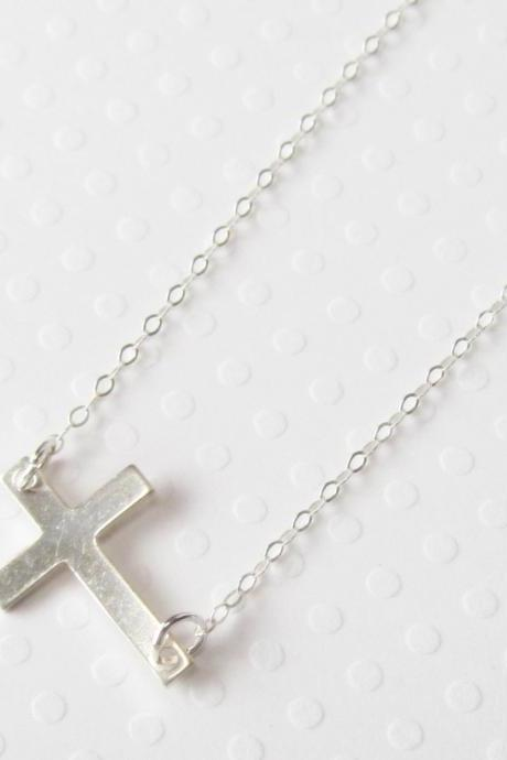 Sterling Silver Sideways Cross Necklace, Sterling Silver Necklace