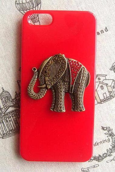 Steampunk Elephant Red hard case For Apple iPhone 5 case cover