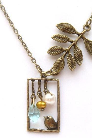 Antiqued Brass Leaf Bird Quartz Pearl Necklace