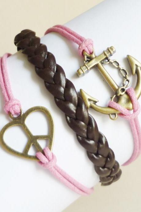 Brass Anchor Pink Bracelet,Love Peace Sign Pink Bracelet and Braided Faux Leather Bracelet - Friendship Bracelet - Gift under 15