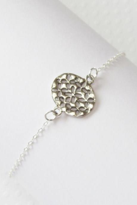 Sterling Silver Filigree Flower Bracelet, Sterling Silver Bracelet, Gift for her