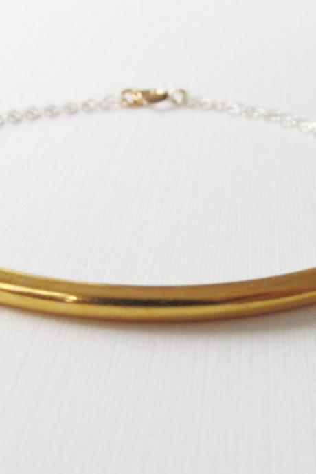Sterling Silver Gold Bar Bracelet, Sterling Silver Bracelet, Gift for her