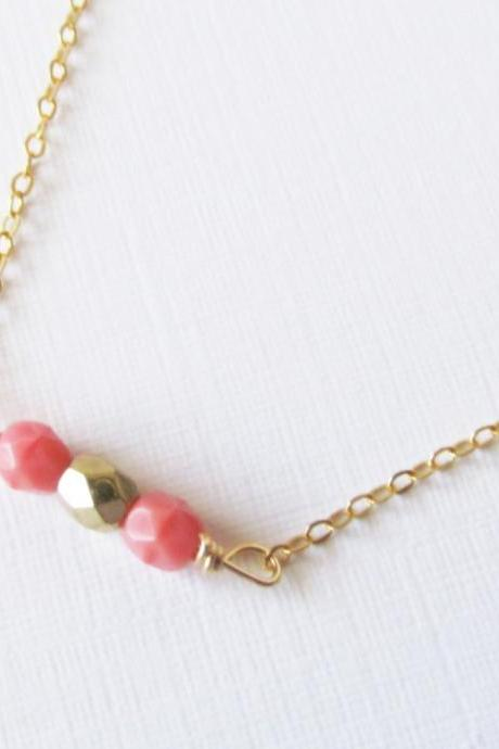 Pink Beaded Necklace, 14kt Gold Filled Necklace Gift for Her
