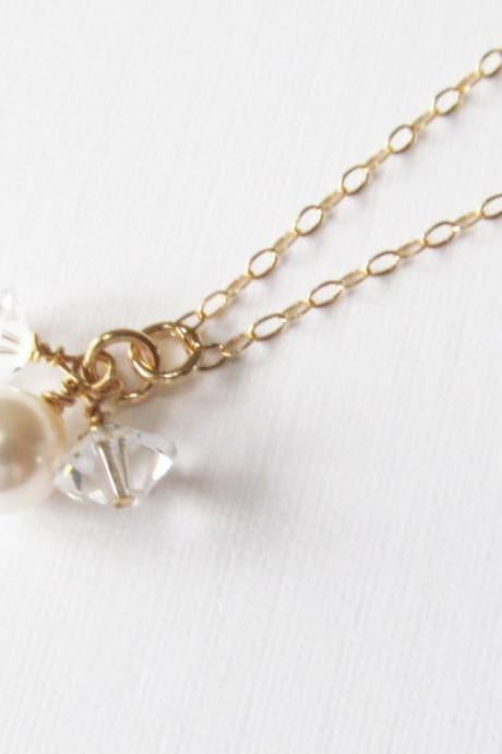 Gold Pearl Necklace, 14kt Gold Filled Necklace, Gift for Her