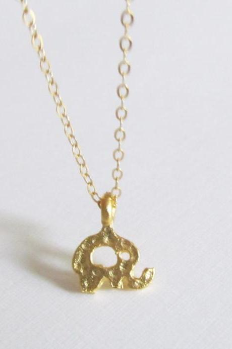 Gold Elephant Necklace, 14kt Gold Filled Necklace, Gift for Her