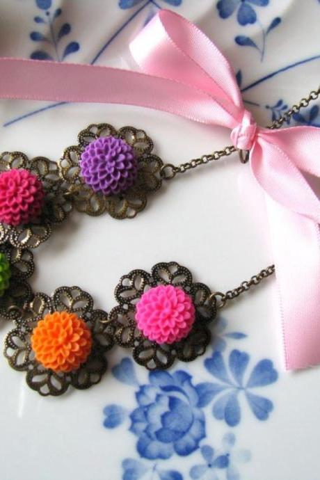 Juicy Chrissy Floral Necklace - Colourful Baby Chrysanthemum Cabochons, Nature Inspired, Sweet Ribbon
