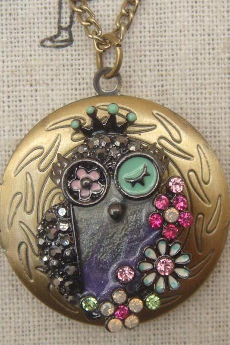 Steampunk Colorful Owl Locket Necklace Vintage Style Original Design