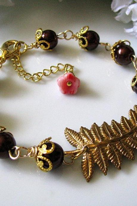 Fern Frond bracelet with brown pearls