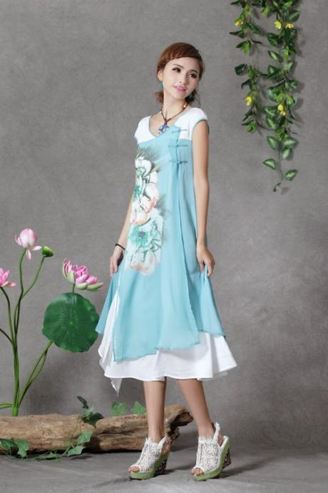 Women Flower short sleeve long dress