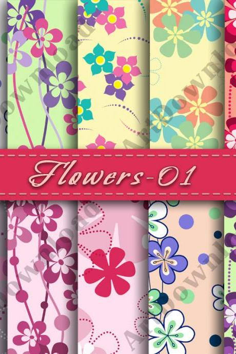 Flowers Scrapbooking Paper Flower Backgrounds Digital Paper Printable Digital Downloads Background