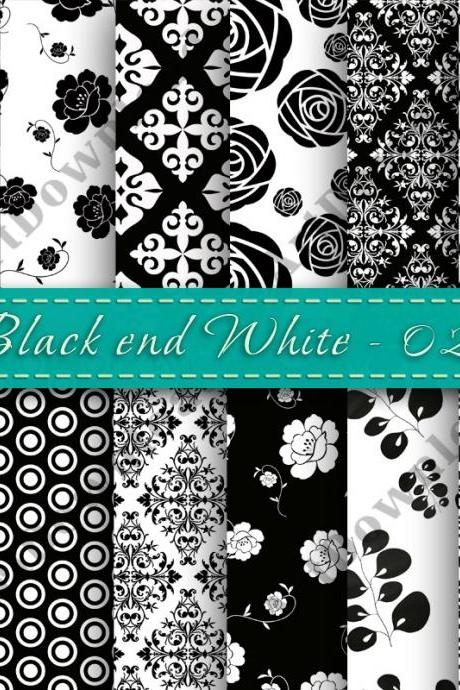 Black and White Digital Papers Black & White Paper Pack Scrapbooking Paper Digital Downloads Damask digital