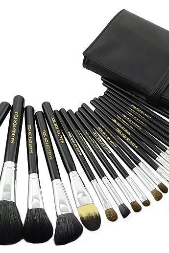 High Quality Goat Hair Makeup 20 PCs Brushes Cosmetic Make Up Set With Leather Bag Kit - Black