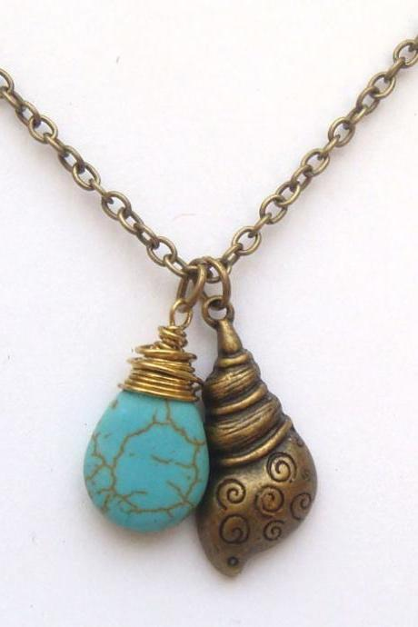 Antiqued Brass Conch Turquoise Necklace