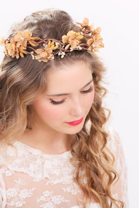 rustic flower crown bridal headband, flower crown, headpiece, wedding headband bridal headpiece flower headpiece wedding headpiece