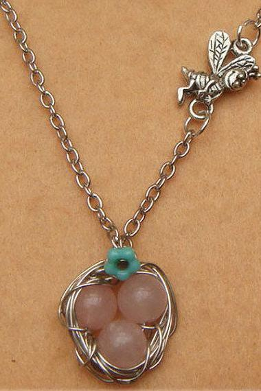 Nest Bee and Rose Quartz Necklace