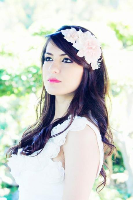 Bridal headband, bridal headpiece, wedding hair accessories, wedding headband, ivory flower hair crown