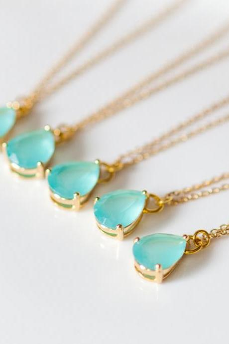 bridesmaid gifts - Set of 5 - Mint green teardrop glass gold chain necklaces