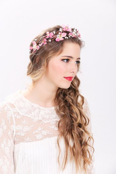 pink flower crown, wedding headpiece, flower crown, bridal headband, wedding headband, bridal headpiece, wedding accessories