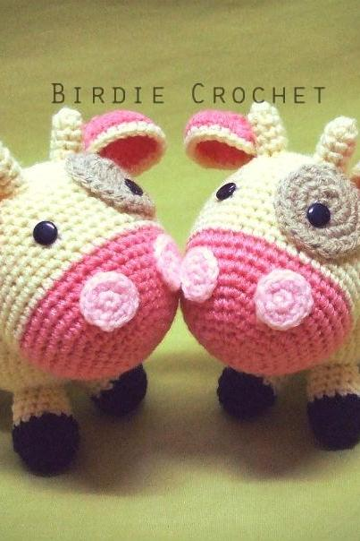 Sweet Cow - Finished Amigurumi Handmade crochet doll Home decor birthday gift Baby shower toy