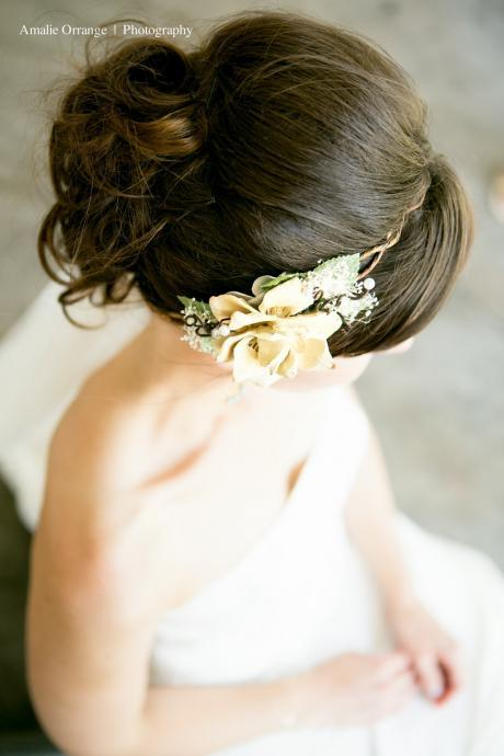 bridal headpiece, natural pine cone rose floral hair crown 'Take my breath away'