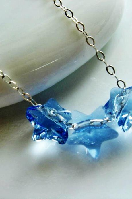 Twinkle Blue Star Swarovski Crystal and Sterling Silver Necklace