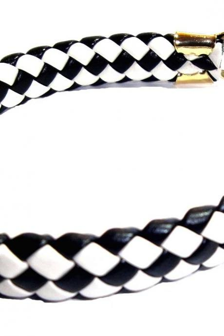 Leather Black and White Harlequin pattern bracelet