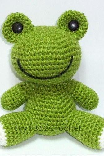 Green Frog - Finished Handmade Amigurumi crochet doll Home decor birthday gift Baby shower toy