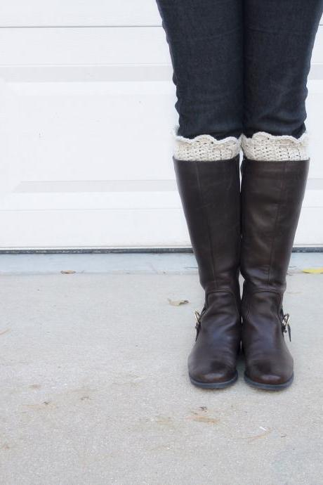Scallop Boot Cuffs // Boot Socks in Ivory