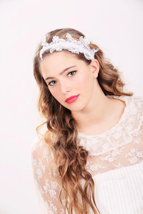 bridal headband, lace bridal headpiece, lace headband