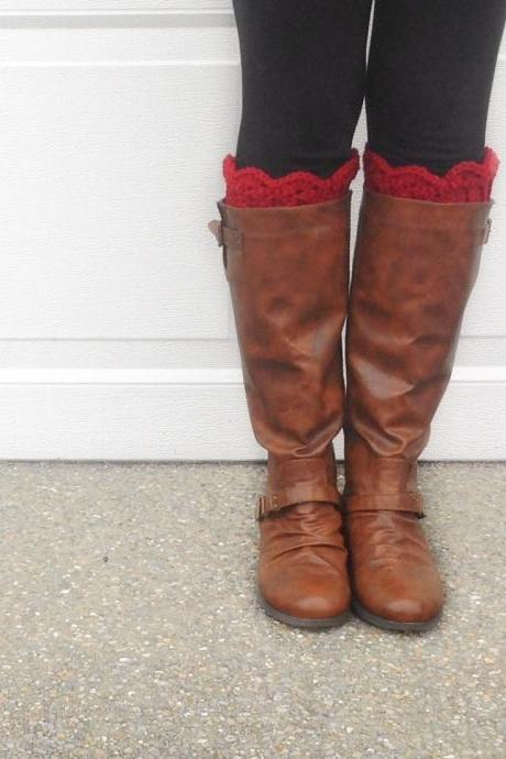 Scallop Boot Cuffs // Boot Socks in Red