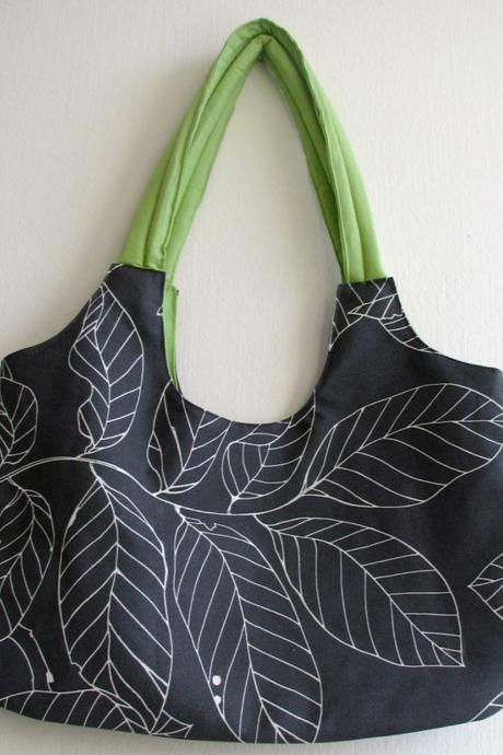 Grey Bag with Lime - Eco Friendly Shoulder Bag / Tote