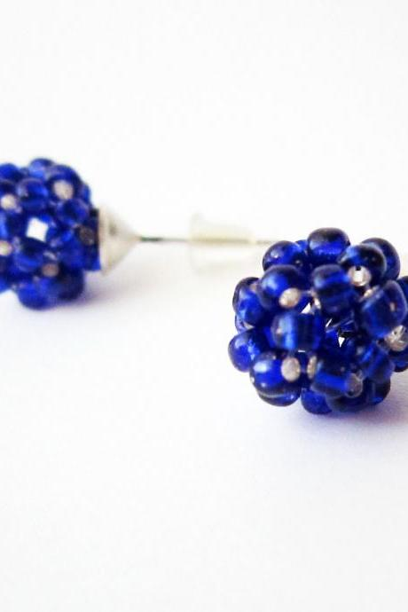 Blue post earrings, beadwork earrings, metallic blue earrings studs, small, cute, summer, spring fashion, ball, chemistry earrings