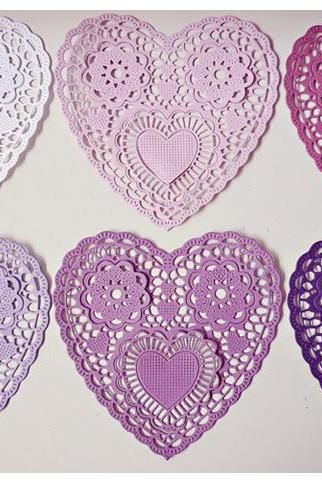 Heartshape Lace colored doilies 4' for Scrap booking or card making / pack
